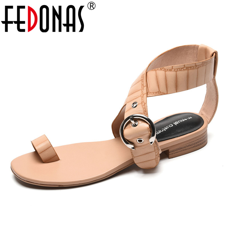 FEDONAS 2020 Summer Women Quality Genuine Leather Flat Heels Sandals Fashion Buckle Casual Shoes Woman Party Basic Shoes Pumps