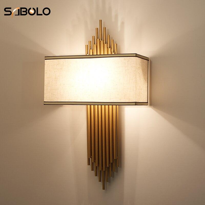 US $71.68 35% OFF|Bedroom Light Modern Lamps Fabric + Iron Wall Light  Indoor Living Room Corridor Hotel Room Lighting Decoration Light  Fixtures-in ...