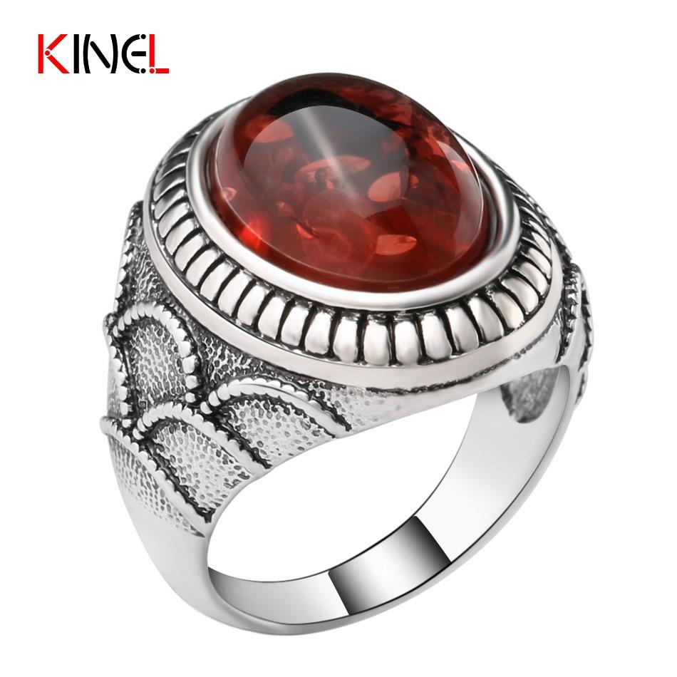 Kinel brand ruby vintage oval rock big ring for men ancient silver