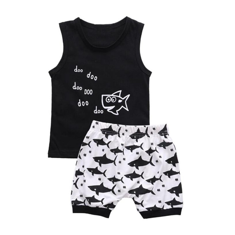 Newborn Infant Baby Girl Boy Cartoon Pattern Animal Sharkr T shirt Tops Shorts Pants Outfit Clothes Set Children's tracksuit baby 3pcs set newborn infant baby boy girl clothes geometric t shirt tops striped long pants legging outfit set baby winter coat