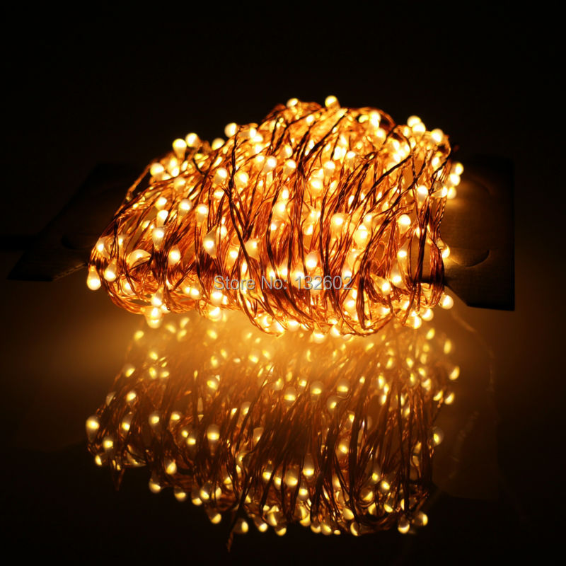24m 480 LED Outdoor LED String Lights Warm White Copper Wire Christmas Starry Fairy Lights+Power Adapter(EU/US/UK/AU Plug)
