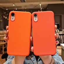 Silicone Orange Solid Phone Case For iPhone