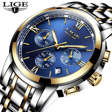 New LIGE Watches Men Luxury Brand Fashion Business Quartz Watch Men Six Pin Sport Waterproof Clock Man Full Steel Wristwatches цена 2017