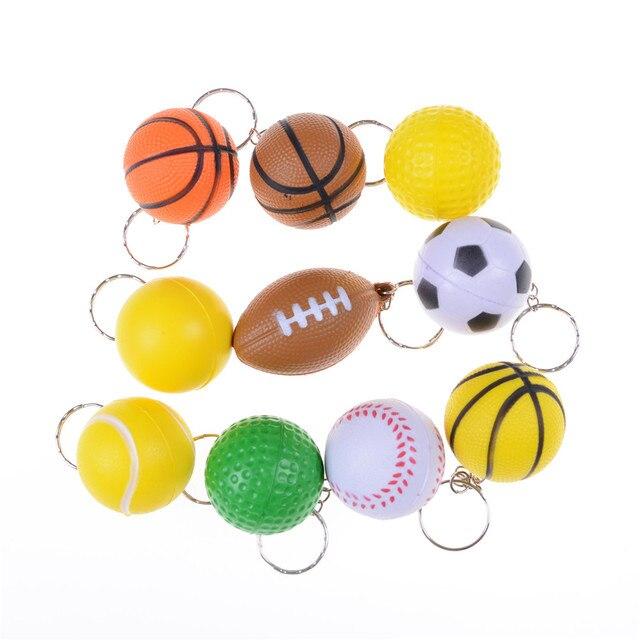 Divertido baloncesto fútbol voleibol tenis llavero colgante cumpleaños regalo juguete niños colección