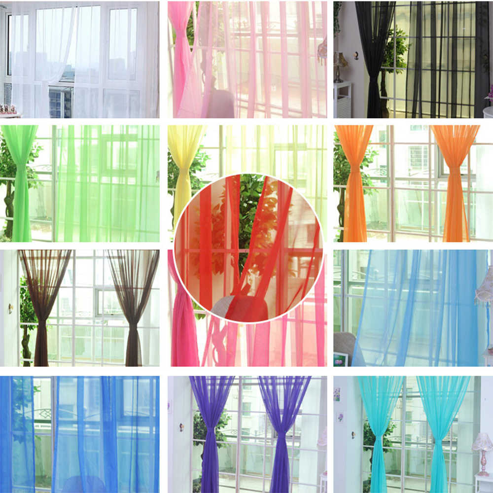 Solid Color Tulle Window Door Curtain For  Living Room Sheer Scarf Valances Drape Panel Curtain Bedroom  Home Decor