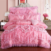 Pink Lace Princess Wedding Luxury Bedding Set King Queen Size Silk Cotton Stain Bed set Duvet Cover Bedspread Pillowcase(China)