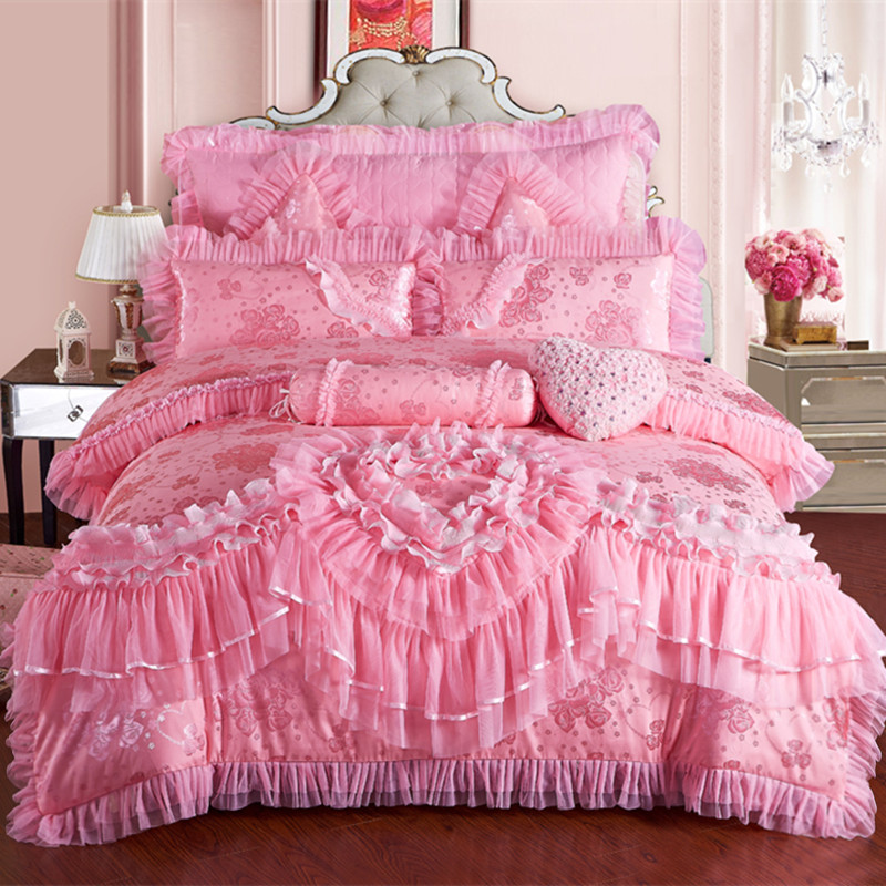 Pink Lace Princess Wedding Luxury Bedding Set King Queen Size Silk Cotton Stain Bed set  Duvet Cover Bedspread Pillowcase-in Bedding Sets from Home & Garden