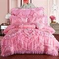 Rosa Spitze Prinzessin Hochzeit Luxus Bettwäsche Set König Königin Größe Seide Baumwolle Fleck Bett Bettbezug-set Bettdecke Kissen
