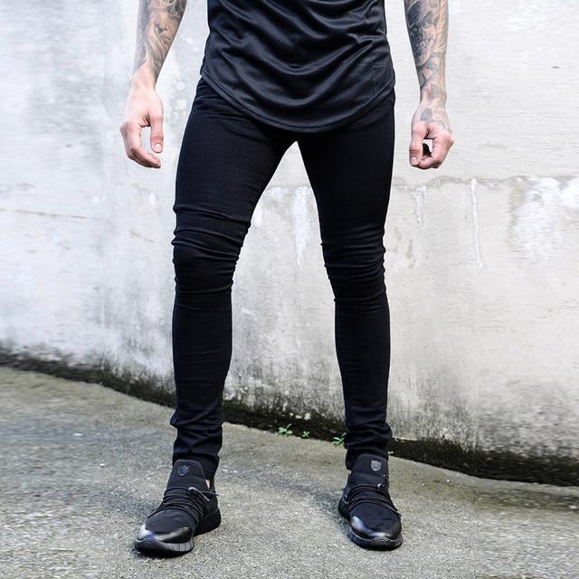 af91f265455 Новые узкие джинсы мужские черные классические хип-хоп стрейч джинсы Slim  Fit Мода известный бренд