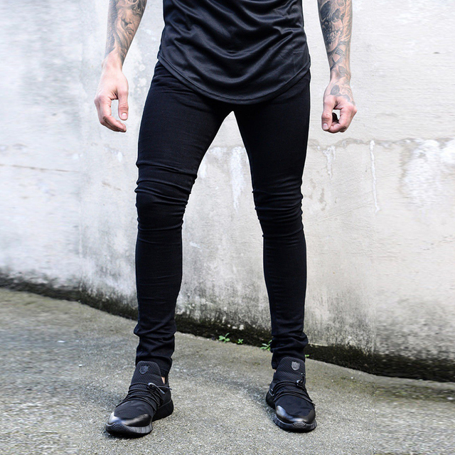 f4c2f88ec84 New Skinny Jeans Men Black Classic Hip Hop Stretch Jeans Slim Fit Fashion  Famous Brand Biker Style Tight ripped Jeans male pants-in Jeans from Men's  ...