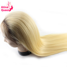 Atina Queen Straight Ombre Black 1b 613 Glueless Full Lace Wigs Remy Human Hair with Baby Hair 4 613 Dark Roots Blonde for Women(China)
