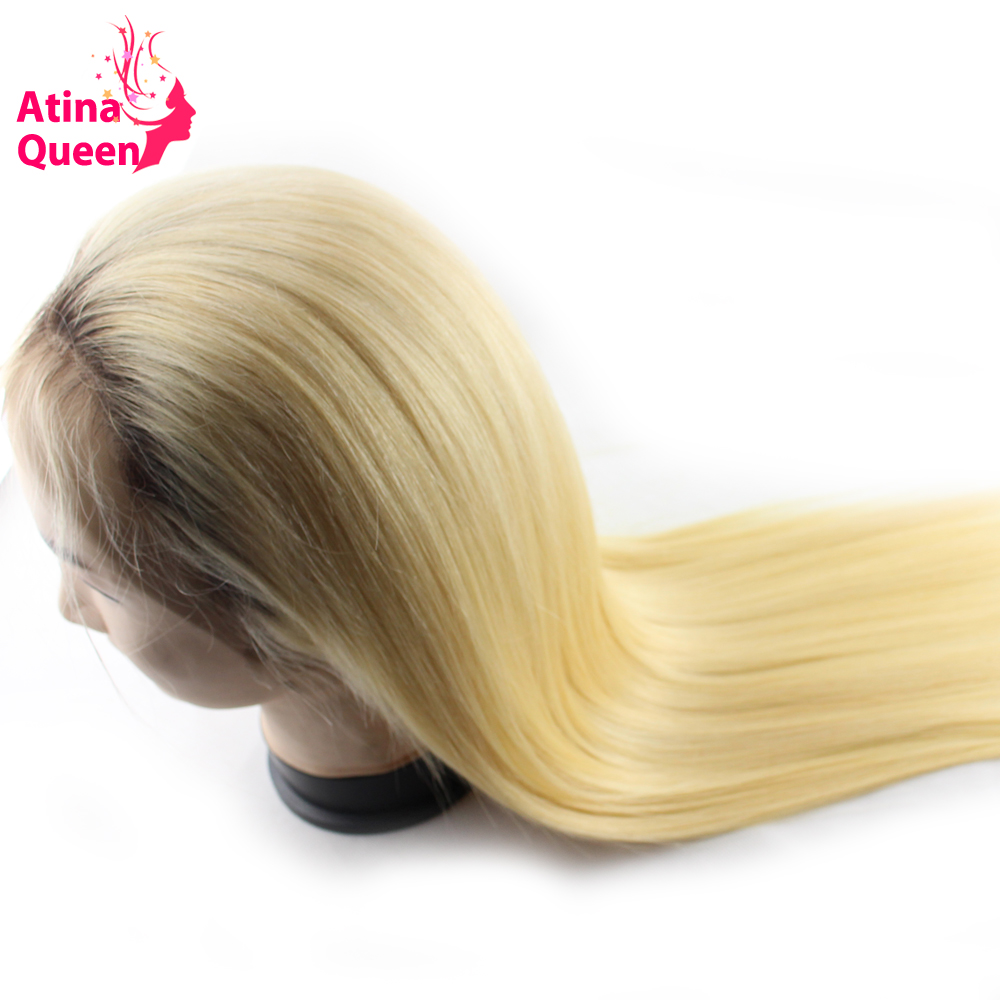 Atina Queen Straight 1b 613 Glueless Full Lace Wigs Remy Human Hair with Baby Hair Ombre 4 613 Dark Roots Blonde for Black Women
