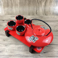 Japanese style ceramics kung fu tea set creative red set teapot wedding supplies tea cup pot tray Chinese newlywed gift