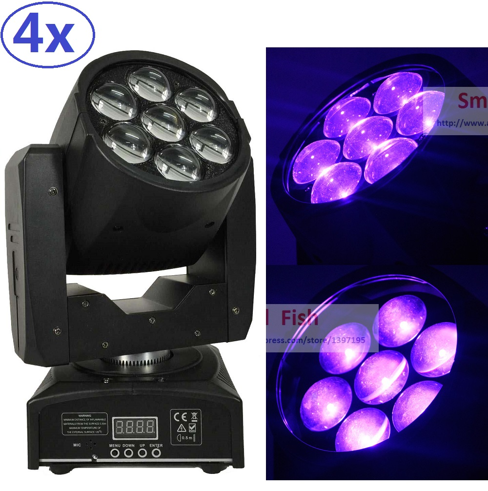 4Pcs 7X15W RGBW Led Wash Zoom Light DMX512 Moving Head Light Professional DJ Bar Party Show Disco Laser Beam Effect Equipments