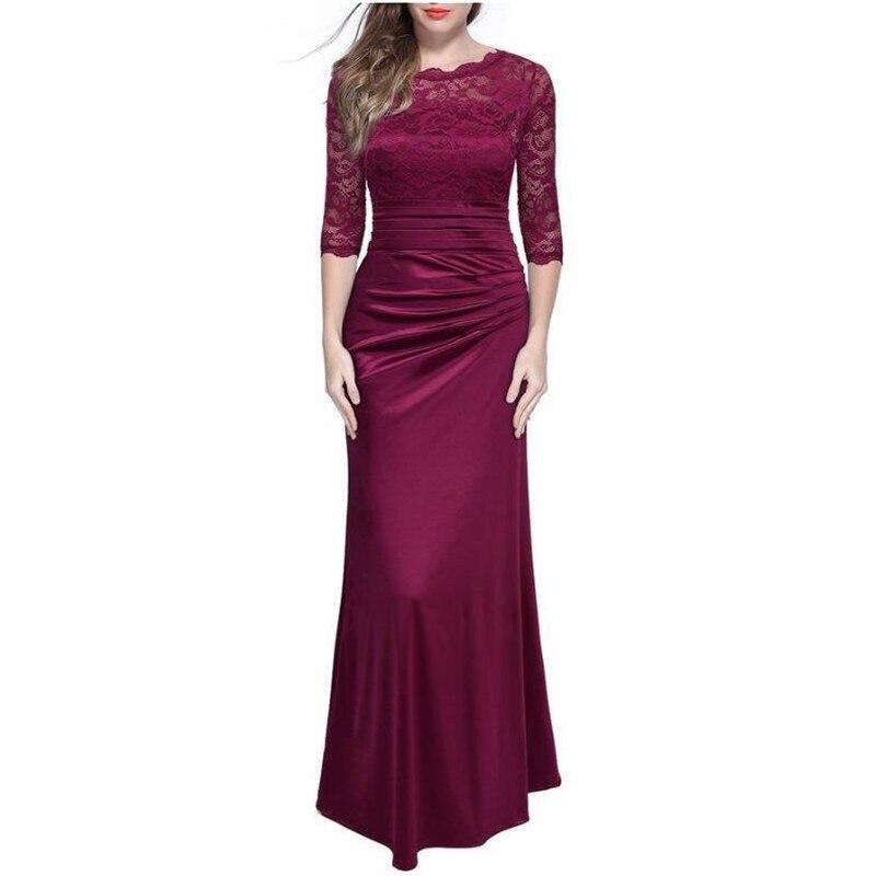 Mince Femmes Robe Red Mariage wine Élégant Rétro Pour purple Mode gray Dentelle Blue Banquet De dark Black FU0wdqx5U