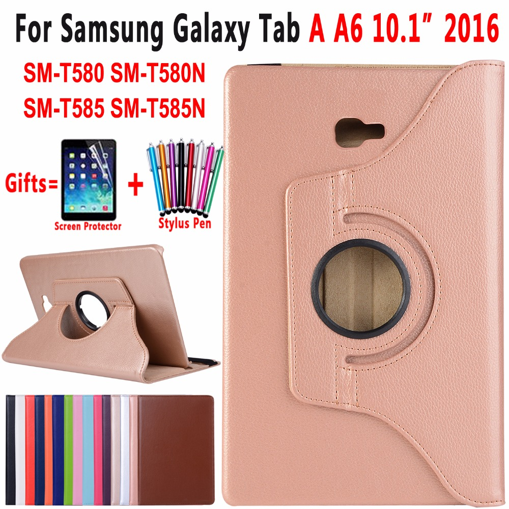 360 Degree Rotating Leather Case Cover for Samsung Galaxy Tab A 10.1 2016 Case A6 T580 T585 T585N SM-T580 SM-T585 Coque Funda fashion flowers case for samsung galaxy tab a a6 10 1 2016 t580 t585 sm t585 case cover tablet stand pc pu leather shell funda