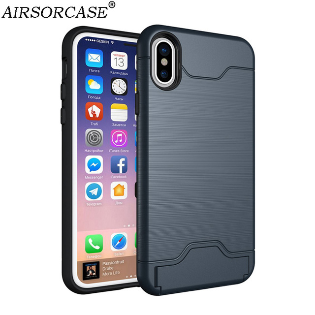big sale eee5a 125d8 US $3.24 35% OFF|For iPhoneX Case 5.8'' for Apple iPhone XS X 10 Cover  Kickstand Card Pocket Back Cover Hard PC & TPU Hybrid Mobile Phone Cases-in  ...