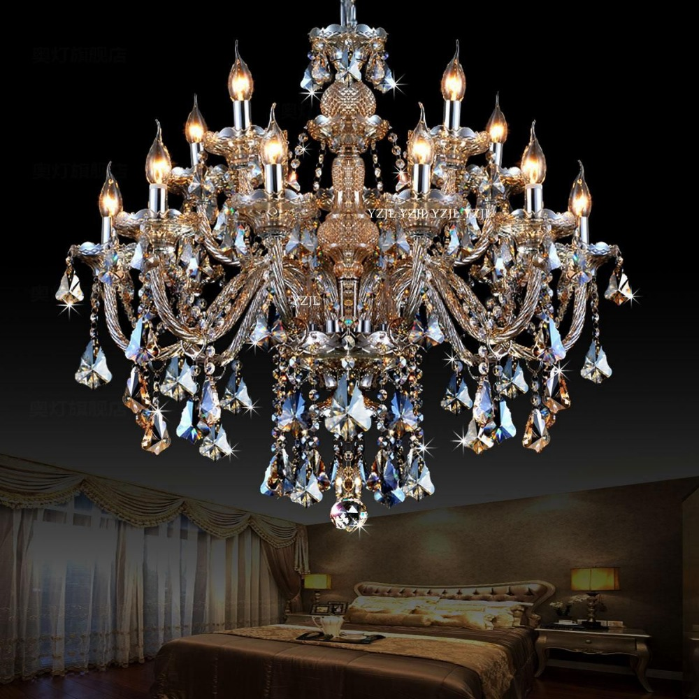 Chandelier crystal Cognac duplex chandelier crystal light Villa large double dining room living room crystal light chandelier