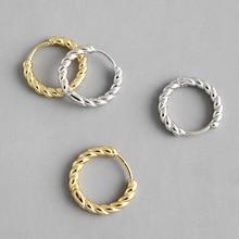 HFYK 925 Sterling Silver Earrings 2019 Gold Twist Round Circles Hoop For Women boucle doreille femme oorbellen