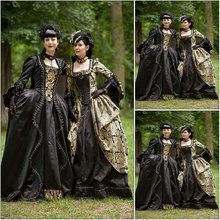 Freeship!Customer-made Black Vintage Costumes Renaissance Dress Steampunk dresses Gothic Cosplay Halloween Dresses C-1216