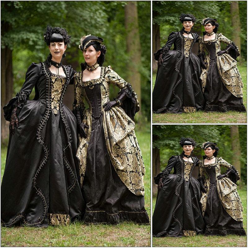 Historical Customer Made Black Vintage Costumes Renaissance Dress