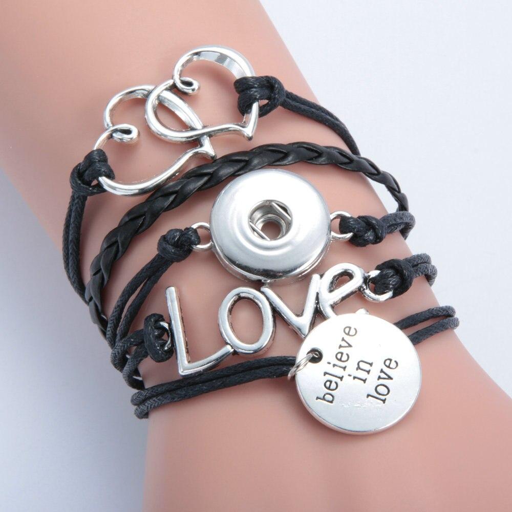6 couleurs Montres Femmes Diy Métal Snap Bouton Bracelet Bouton Pression en cuir  bracelet bracelets avec perles charme pour hommes 1a31322838f