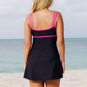 Image 2 - 원피스 수영복 수영 스커트 수영복 플러스 사이즈 끈 수영복 브라질 여성 수영복 빈티지 Monokini 밀어