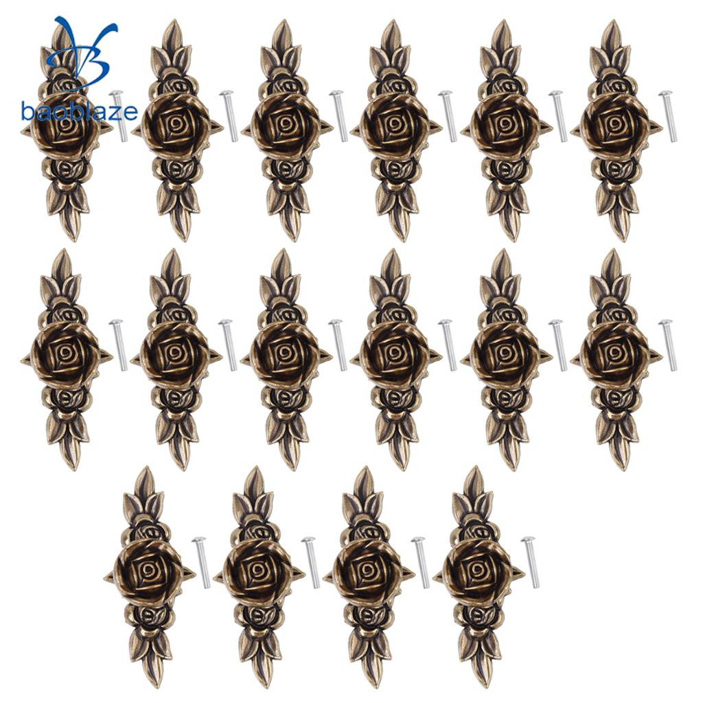 16Pcs European Vintage Metal Roses Pull Handles for Wardrobe Cabinet Drawer Closet Dresser Cupboard Kitchen Furniture Door Knobs stainless steel hydraulic hinges for cabinet cupboard closet wardrobe furniture door 3 types optional