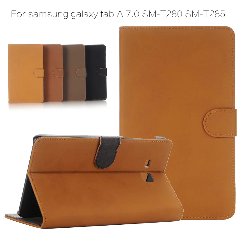 2016 Retro Book Style Flip PU Leather Case Cover for Samsung Galaxy Tab A 7.0 SM- T285 T280 Coque Funda Stand Case + Film + Pen аксессуар чехол samsung galaxy tab a 7 sm t285 sm t280 it baggage мультистенд black itssgta74 1