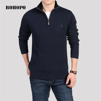 ROHOPO Fleece Winter Casual Keep warm Sweater,Zipper Collar Military Cotton Knitted Outwear,Fleece Inner Cargo Army Sweater