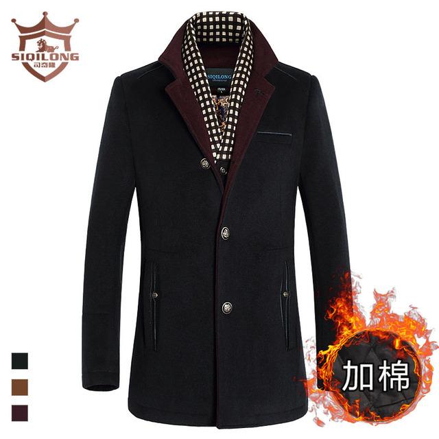2017 Novos homens de inverno casaco longo blusão de lã dos homens de lazer da moda cachecol colar de lã casacos outerwear frete grátis