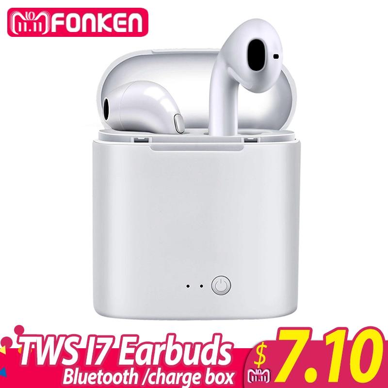 FONKEN Drahtlose Bluetooth Kopfhörer TWS i7 In-ohr Drahtlose Ohrhörer Mit Mic Tragbare Sport Mobile mini Hörer mit Ladung box