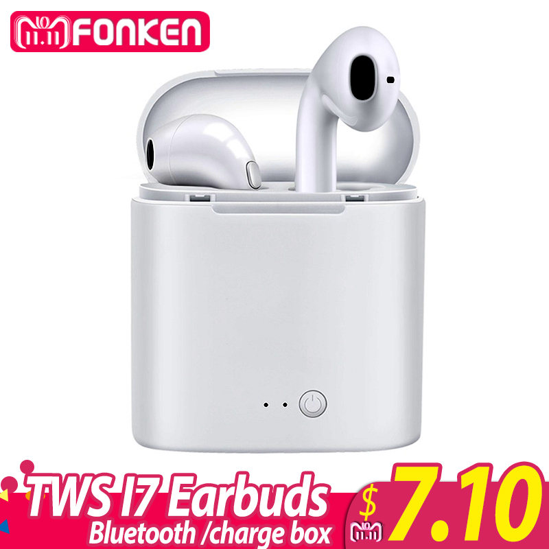 FONKEN Wireless Bluetooth Earphone TWS i7 In-Ear Wireless Earbuds With Mic Portable Sport Mobile mini Earpiece with Charge box цена