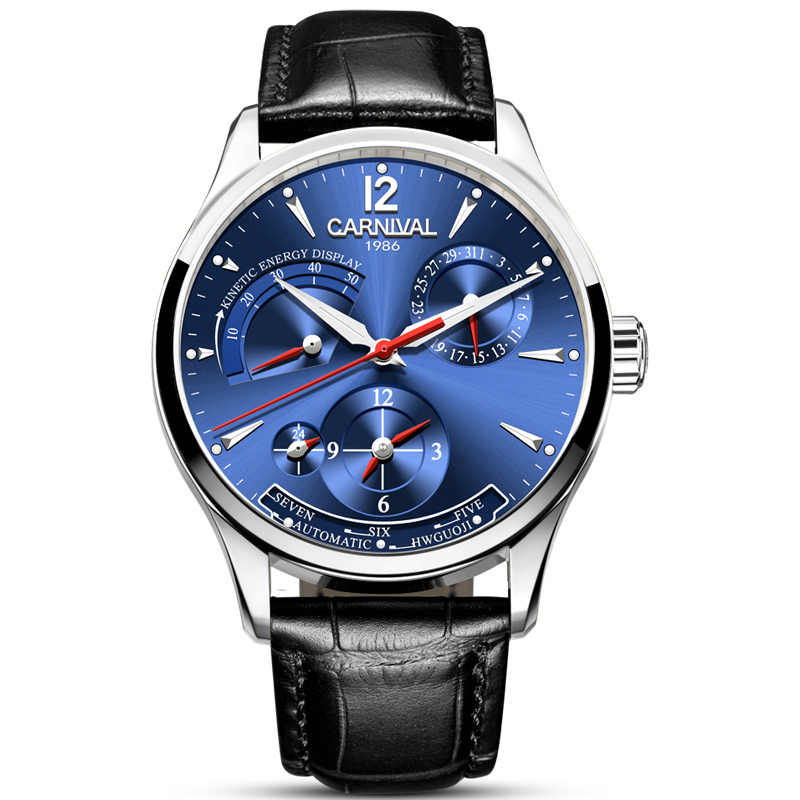 High end Business Watch men CARNIVAL Fashion Multifunction Automatic Watch With Energy display Calendar 24hours display