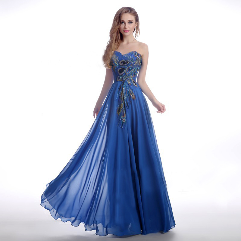 Online Buy Wholesale blue feather dress from China blue feather ...