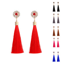 fashion Bohemia Crystal stone long Tassel drop Earrings For Women Flower Charm Red Blue Black Silk Drop Earrings Wedding Jewelry 2018 summer new india golden jhumki earrings bohemia blue tassel earrings hippy charm fake beach travel jewelry
