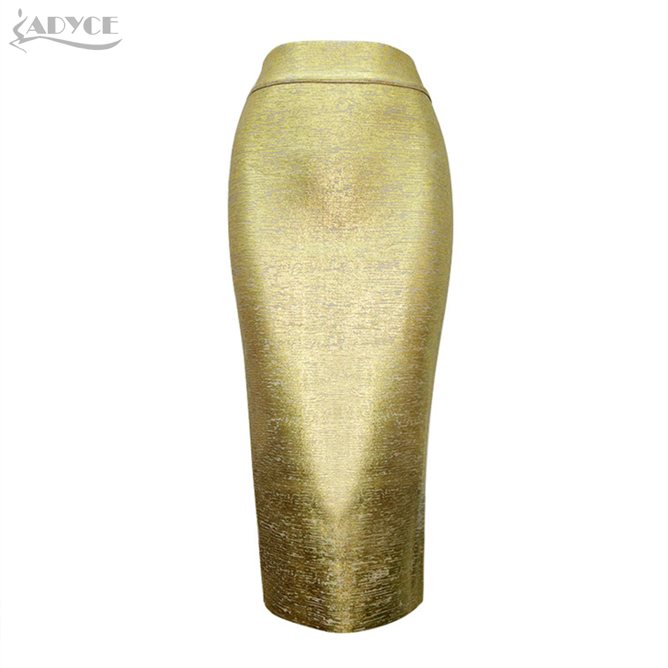 2019 New Summer Sexy Women Chic Pencil Skirts Golden Silver Knee-length Elegant Celebrity Party Prom Bodycon Bandage Skirts