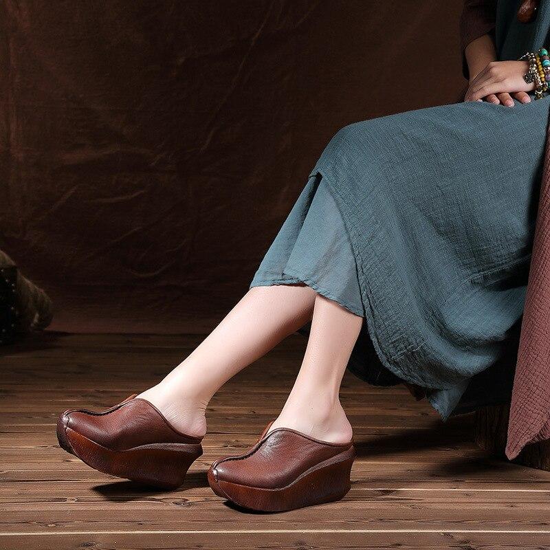 OLOMM 2019 الصيف جديد المرأة النعال الصنادل الجلدية سميكة القاع الكعك مع الصينية تو باوتو عارضة نصف النعال LL 06-في شباشب من أحذية على  مجموعة 1