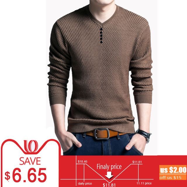 V Neck Sweater Men Pullover Slim Fit Autumn Winter Warm Male Cashmere Wool Men's Sweaters Jumper Mens Knitwear Sweter Pull Homme
