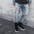 ripped jeans for men punk rock pants slim fit skinny distressed denim pants mens punk rock broken hole biker slim fit jeans DM#6