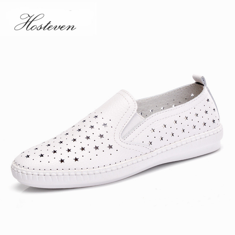 Hosteven New Summer Women's Shoes Äkta Läder Flats Skor Kvinna Casual Flat Woman Loafers Läder Svart Flat