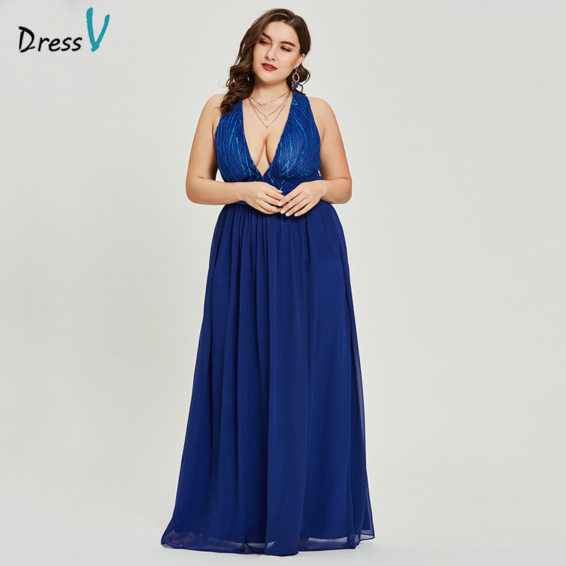 Dressv Royal Blue V Neck Plus Size Evening Dress Beaded Elegant A Line Sleeveless Wedding Party Formal Dress Evening Dresses