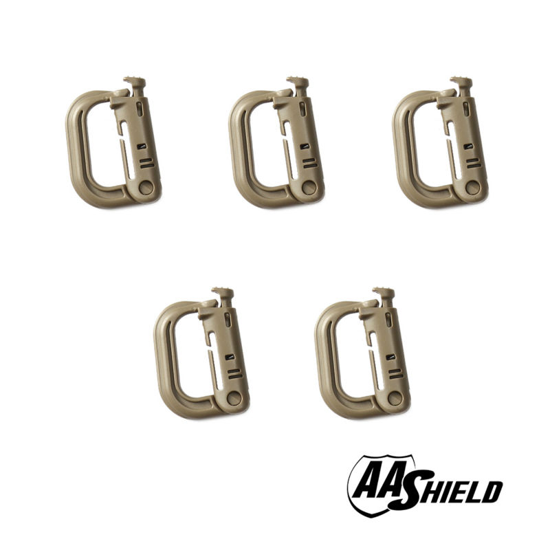 AA Shield Outdoor Carabiner D-Shape Clip Hook Carabine Plastic Camping Hunting Buckle Multiple Color 5PC 25kn professional carabiner d shape safety master lock outdoor rock climbing buckle equipment