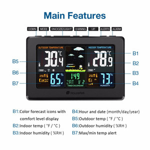 Image 4 - Houzetek Weather Station Wireless Transmission Alarm Clock Humidity Weather Forecast Display Sound Control Backlight Clock Alarm