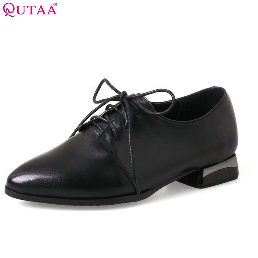 цена на QUTAA 2018 Women Pumps Pointed Toe Lace Up Women Shoes Square High Heel Solid Black Genuine Leather+ Pu Women Pumps Szie 34-43
