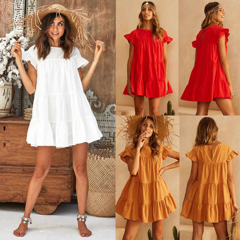 Casual Summer Mini Dresses Solid Yellow White Red Ruffle Short Sleeve Beach Dresses For Women Loose Pleated Dress Lady Sundress
