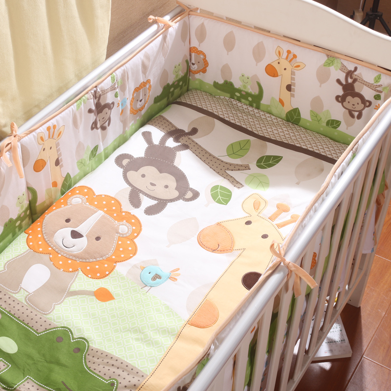 5pcs Baby Crib Bedding Set Lovely Animal Monkey Giraffe