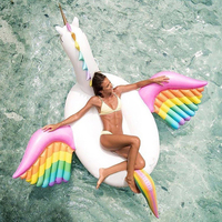 250cm Inflatable Rainbow Pegasus Unicorn Horse Pool Float Colorful Air Floating Mattress Bed Swimming Ring Outdoor Sport Ride on