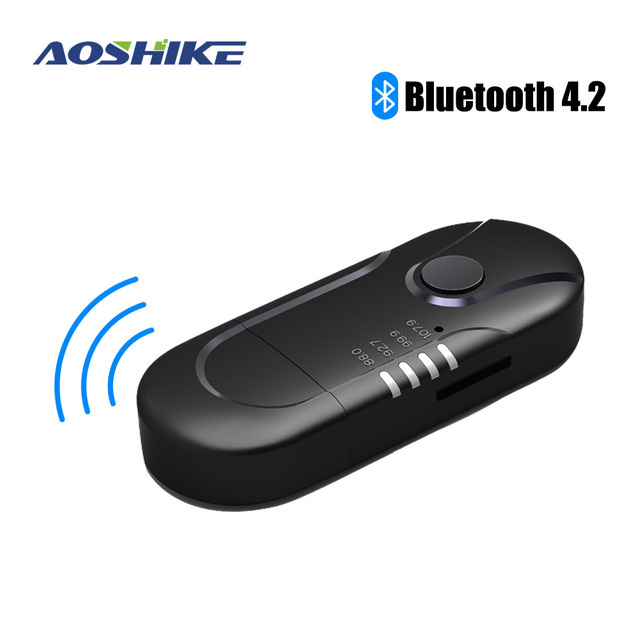 AOSHIKE  FM Transmitter Bluetooth Reciever FM Modulator Radio Hands Free Car Kit Car MP3 Audio Player with USB Car Charger TF U