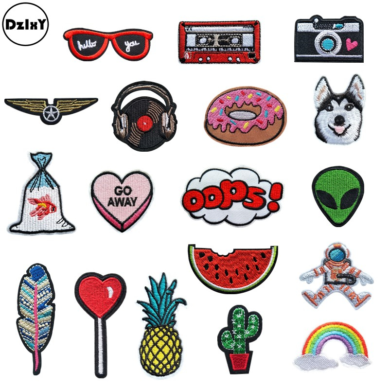 (30 Differents Styles) Animals Parches Embroidery Iron on Patches for Clothing DIY Foods Stripes Clothes UFO Stickers Appliques